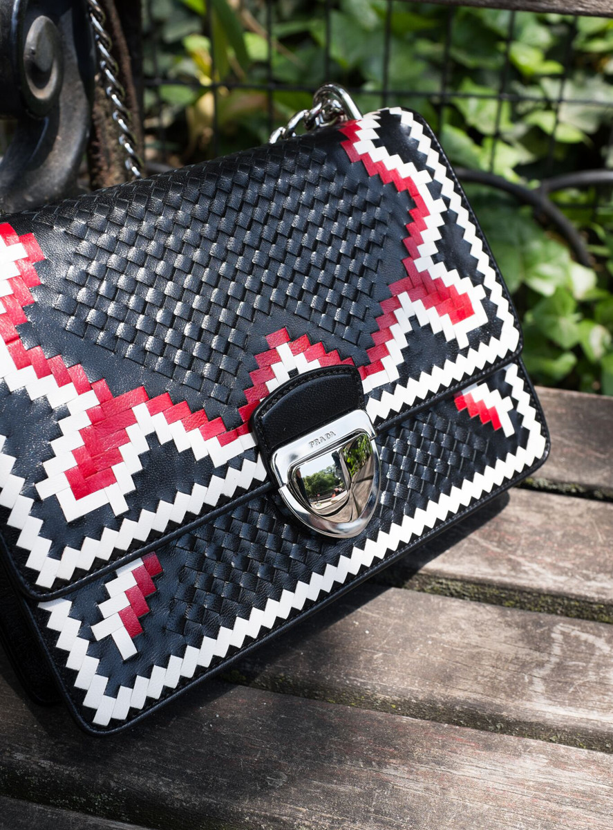Prada Woven Madras-Pattern Shoulder Bag 1