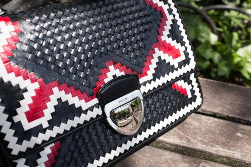 Prada Woven Madras-Pattern Shoulder Bag