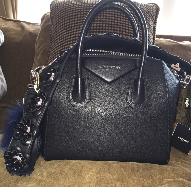 tPF Member: Sweetyqbk Bag: Givenchy Antigona Small Leather Satchel Strap: Fendi Flower & Stud Leather Strap Shop: Givenchy Bag for $2,280 via Saks and Fendi Strap for $1,100 via Neiman Marcus