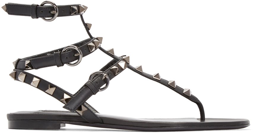 Valentino Black Leather Rockstud Sandals