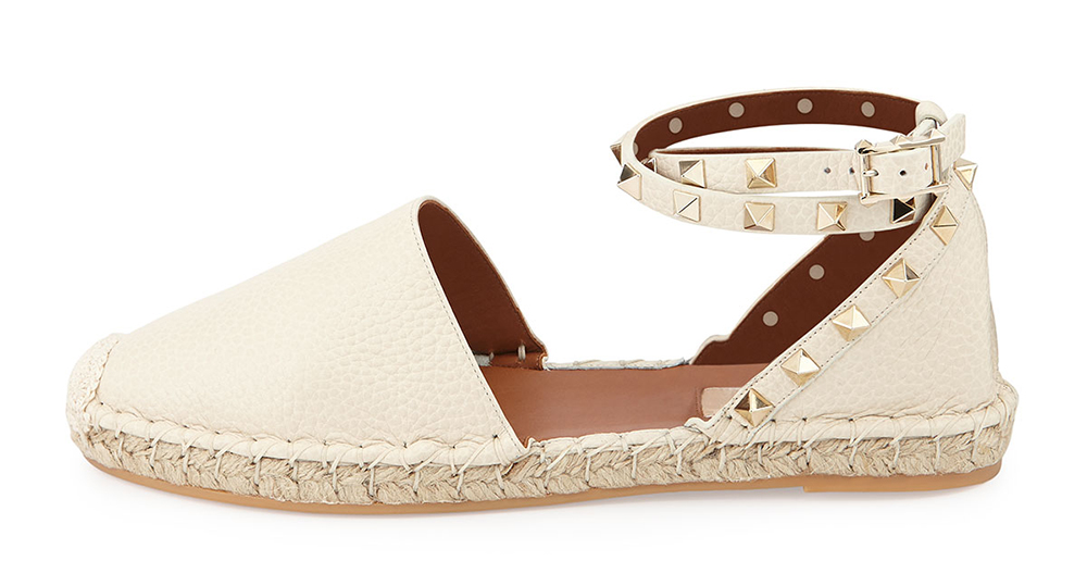 Valentino Rockstud Double Ankle-Wrap Flat Espadrille