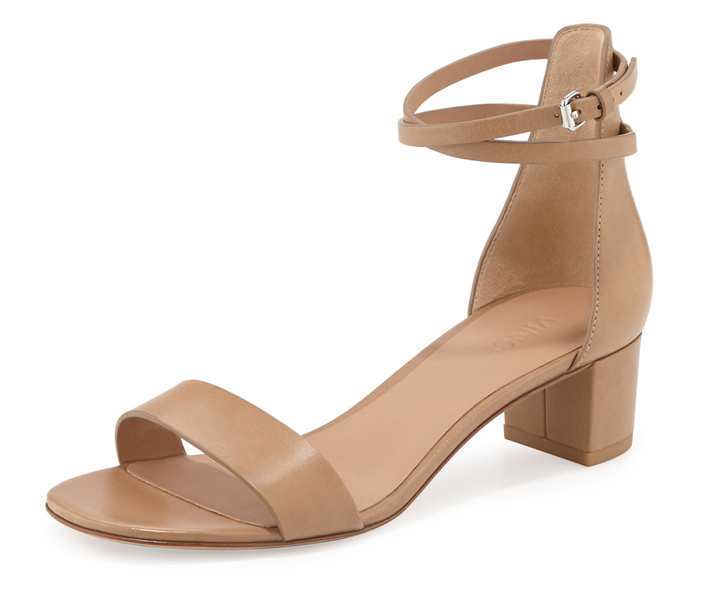 Vince  Rianne Leather Block-Heel Sandal