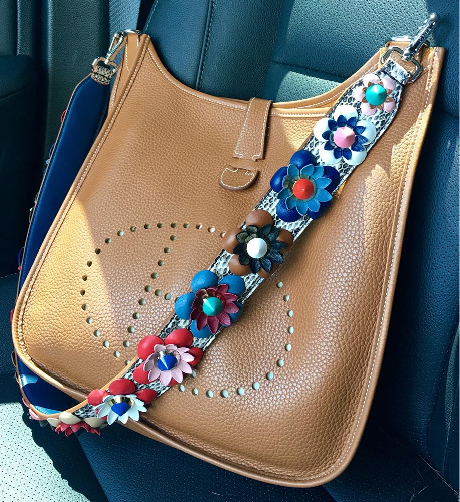 tPF Member: Amozo Bag: Hermès Evelyne Bag Strap: Fendi Floral Python Strap  Shop strap via Neiman Marcus
