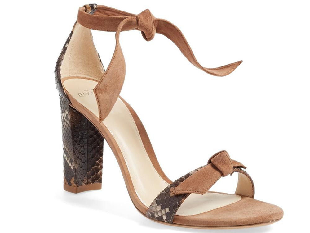 Alexandre Birman Clarita Suede and Genuine Python Ankle Tie Sandal