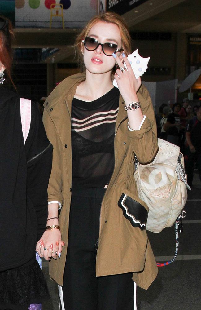 Bella-Thorne-Chanel-Graffiti-Backpack