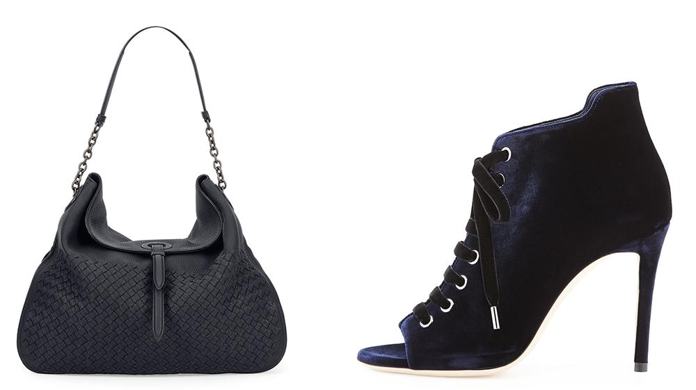 Bag: Bottega Veneta Intrecciato Cervo Flap-Top Hobo Bag $3,100 via Neiman Marcus Shoes: Jimmy Choo Mavy Velvet Lace-Up Boot $895 via Bergdorf Goodman
