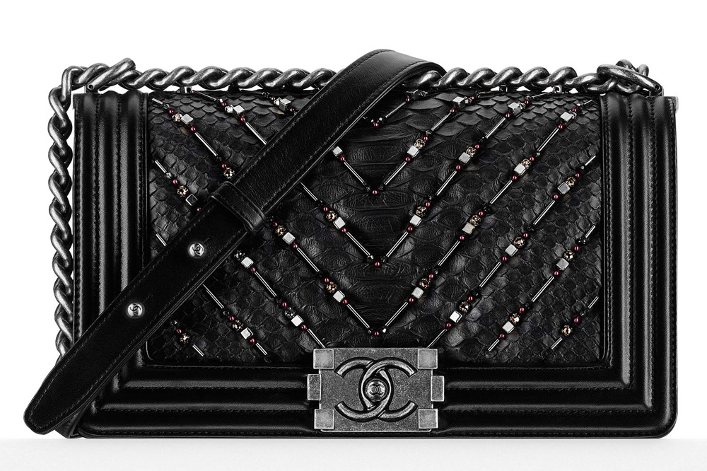 Chanel-Boy-Bag-Embroidered-Python-Black