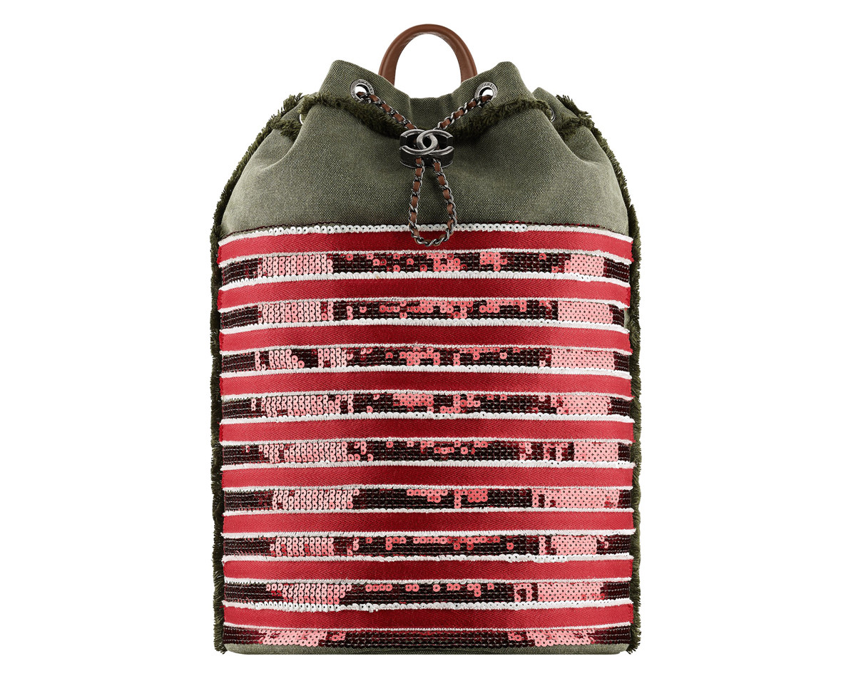 Chanel Cuba Khaki and red embroidered toile backpack