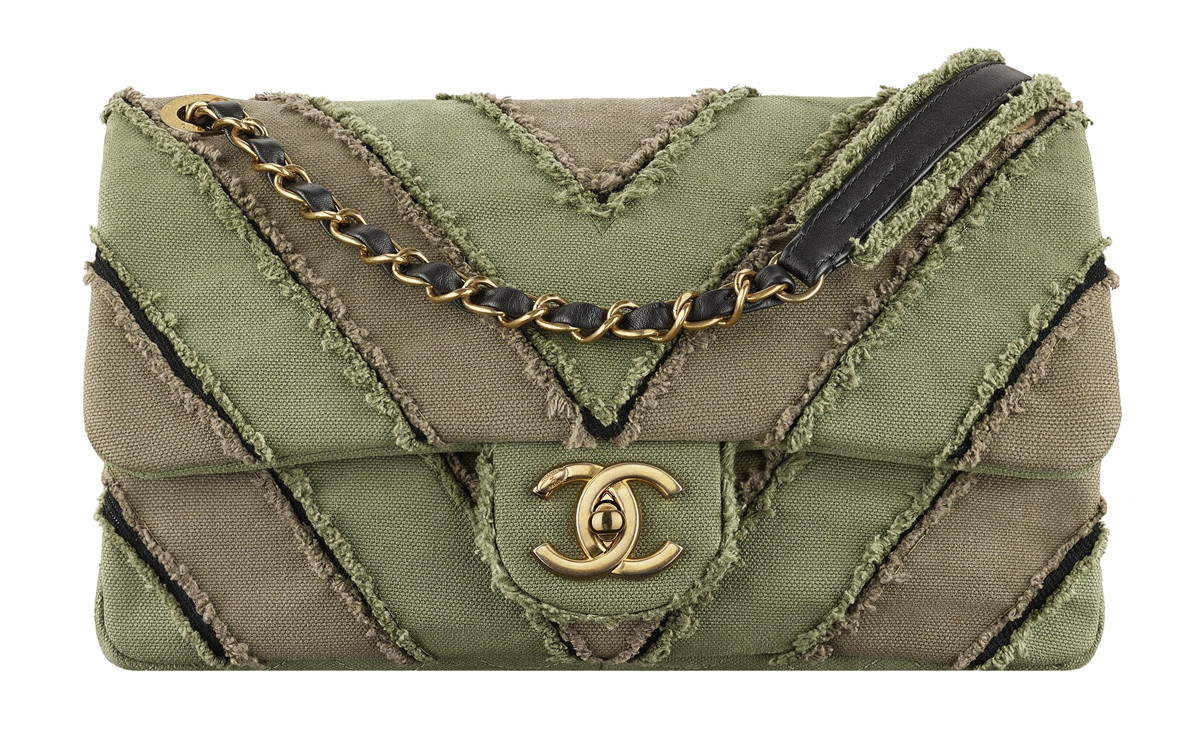 Chanel Cuba Khaki patchwork toile bag with a CC lock