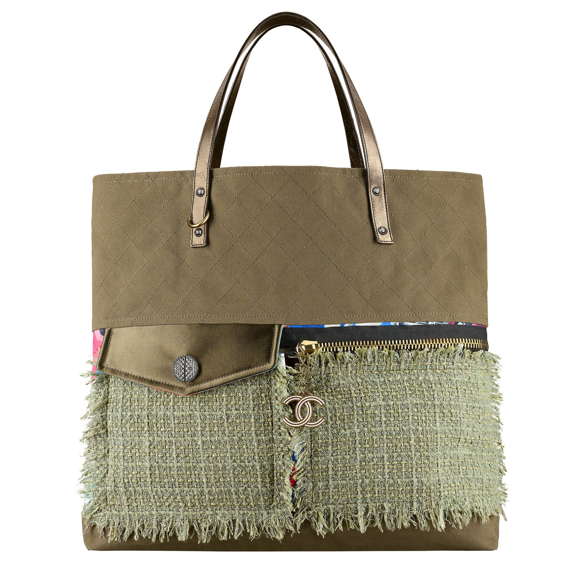 Chanel Cuba Khaki toile and tweed shopping bag