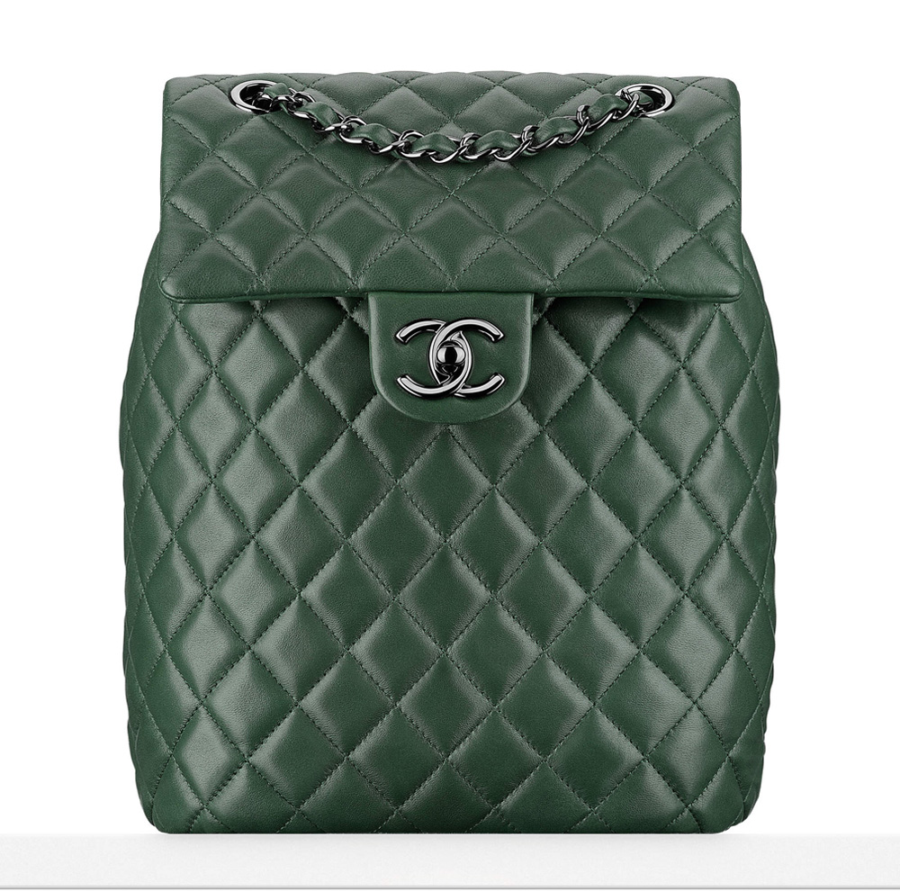 Chanel-Lambskin-Backpack-Green-3400