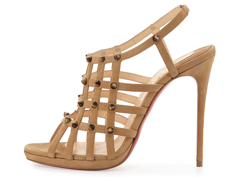 Christian Louboutin Guinievre Caged Suede Red Sole Sandal