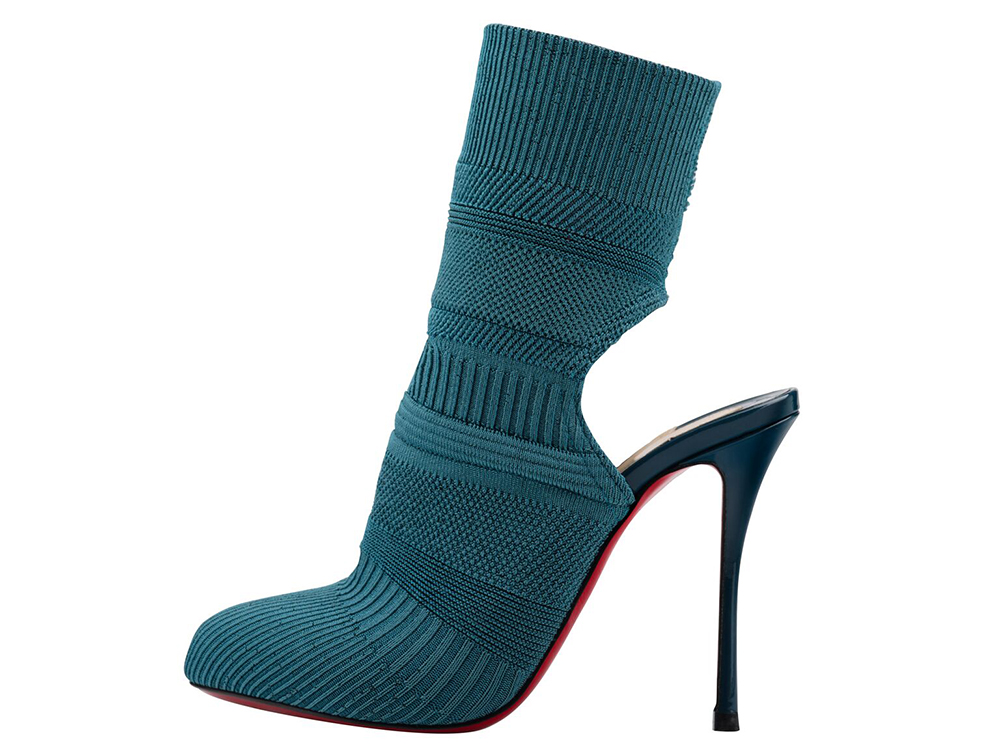 Christian Louboutin Noemi 100 Maille Tricot Patent Lagune Bootie