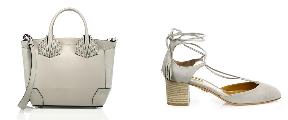 Bag: Christian Louboutin  Eloise Large Studded Leather Tote $2,190 via Saks  Shoes: Aquazzura Boheme Suede Lace-Up Block-Heel Pumps $725 via Saks
