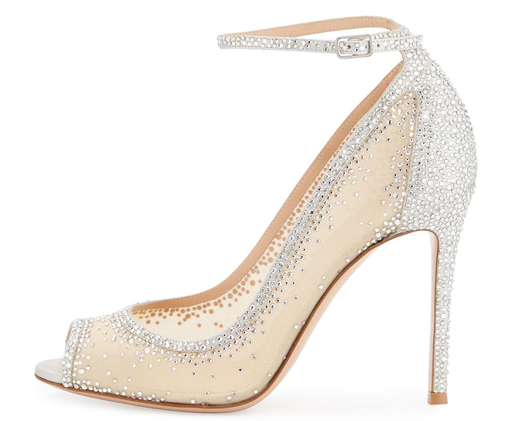 Gianvito Rossi Gemma Crystal Peep-Toe Ankle-Strap Pump