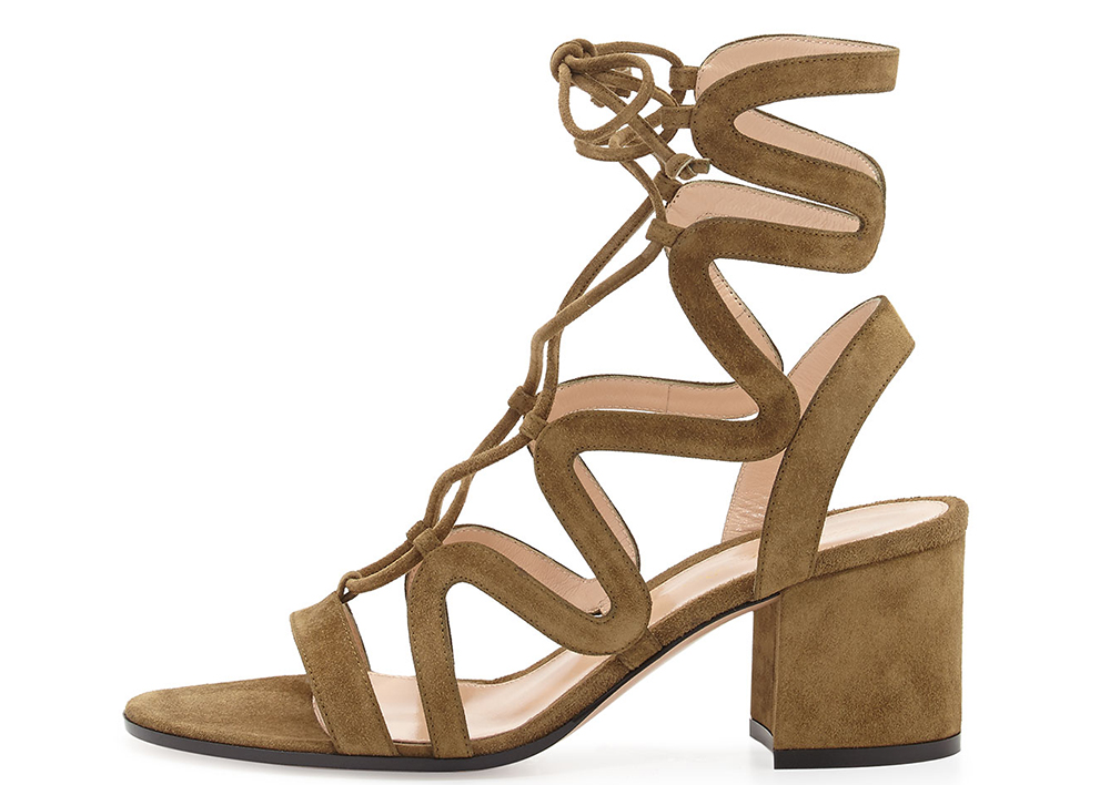 Gianvito Rossi Lace-Up Block-Heel Suede Gladiator Sandal