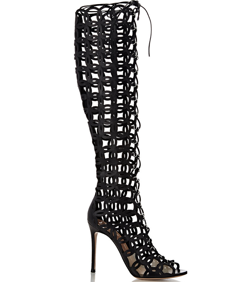 Gianvito Rossi Laser-Cut Knee Boots