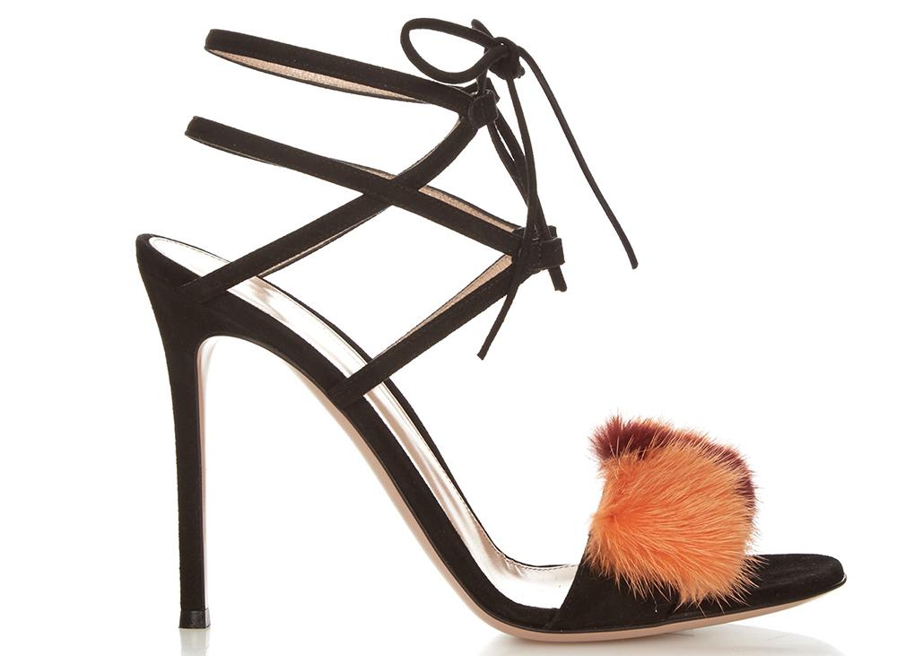 Gianvito Rossi Zelda Fur-Trimmed Suede Sandals