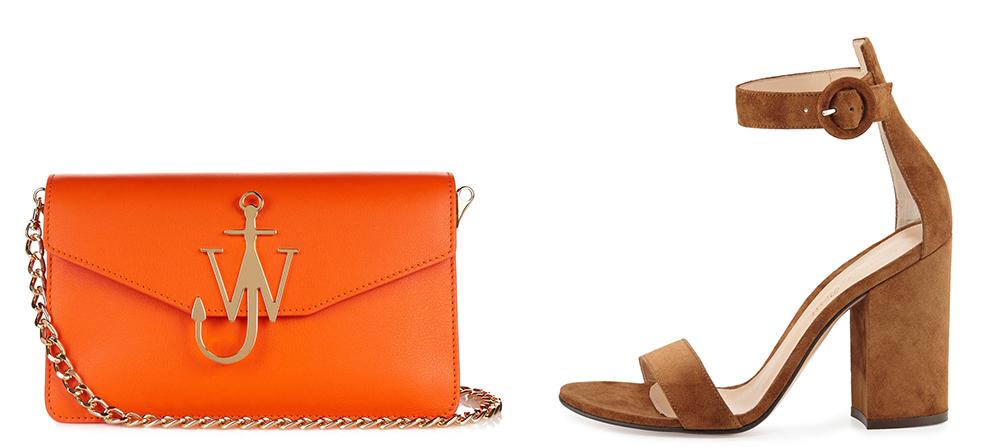 Bag: J.W. Anderson  Monogram Leather Shoulder Bag $982 via MATCHESFASHION.COM  Shoes: Gianvito Rossi Portofino Suede Ankle-Strap Sandal $745 via Gianvito Rossi