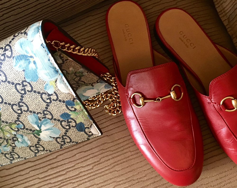 tPF Member: LVLux Bag: Gucci GG Blooms Supreme Chain Wallet  Shoes: Gucci Princetown Leather Slipper Shop Wallet: $780 via Gucci Shop Slipper: $595 via Gucci