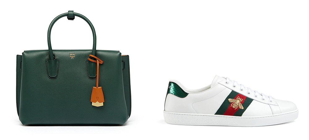 Bag: MCMMilla Medium Leather Tote Bag $920 via nEiman Marcus  Shoes: Gucci Ace Embroidered Low-Top Sneaker $595 via Gucci