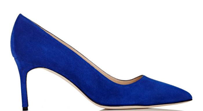 $595 in Cobalt Suede (As Seen Above) via Barneys, $595 in Calf Leather via Bergdorf Goodman, $595 in Kidskin Leather via Barneys, $695 in Flower-Stamped Denim via Bergdorf Goodman, $895 in Brocade via Bergdorf Goodman,