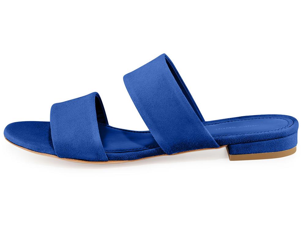 Mansur Gavriel Suede Two-Band Flat Slide Sandal