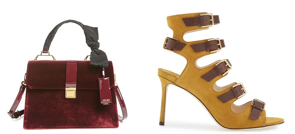 Bag: Miu Miu Velutto Top Handle Satchel $2,160 via Nordstrom  Shoes: Jimmy Choo Trick Caged Sandal $1,250 via Nordstrom