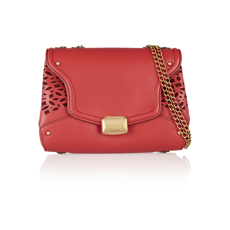 Nina Ricci_Laser-cut leather and suede shoulder bag_THE OUTNET.COM