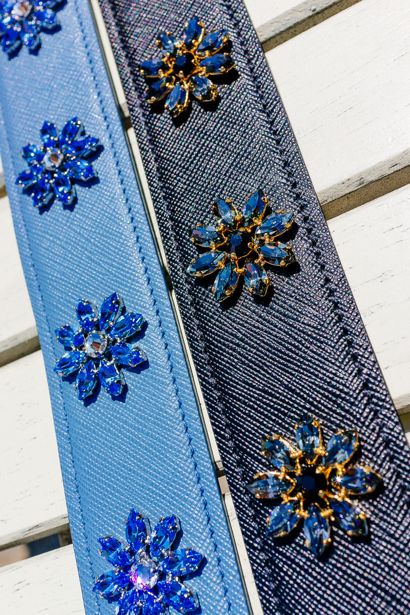 Prada Blue Saffiano Strap with crystal flowers