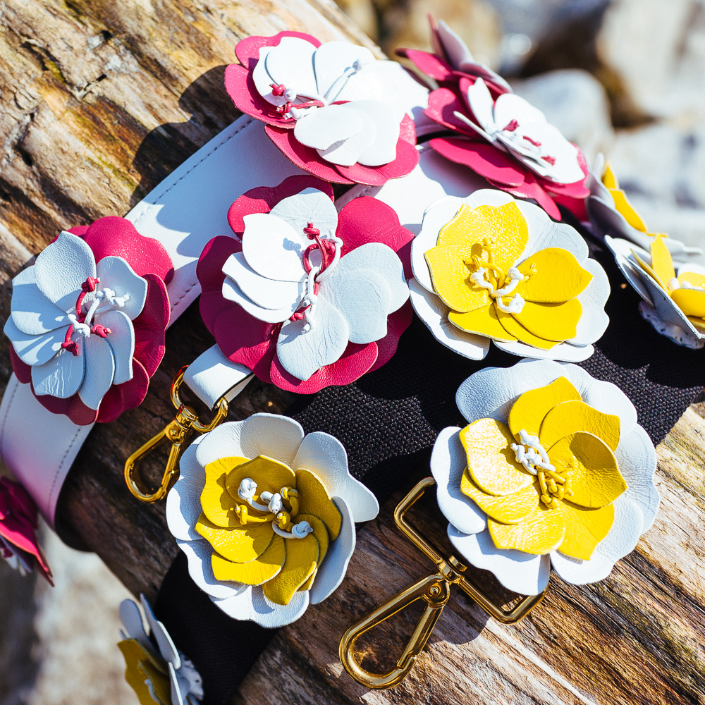 Prada Black Strap, white/yellow flowers - $800 | Prada White Strap, pink/white flowers - $925