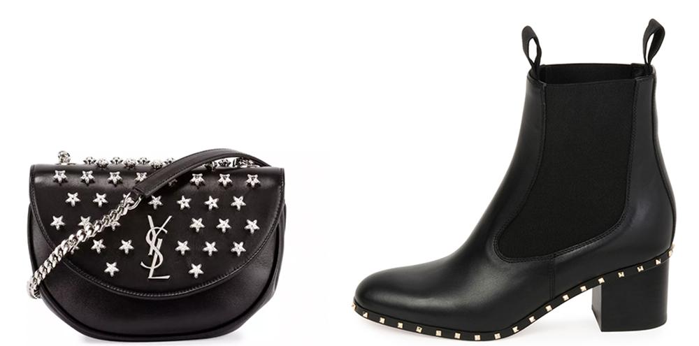 Bag: Saint Laurent Monogram Star-Studded Hobo Bag $1,250 via Bergdorf Goodman  Shoes: Valentino Soul Stud Leather Chelsea Boot $1,345 via Bergdorf Goodman