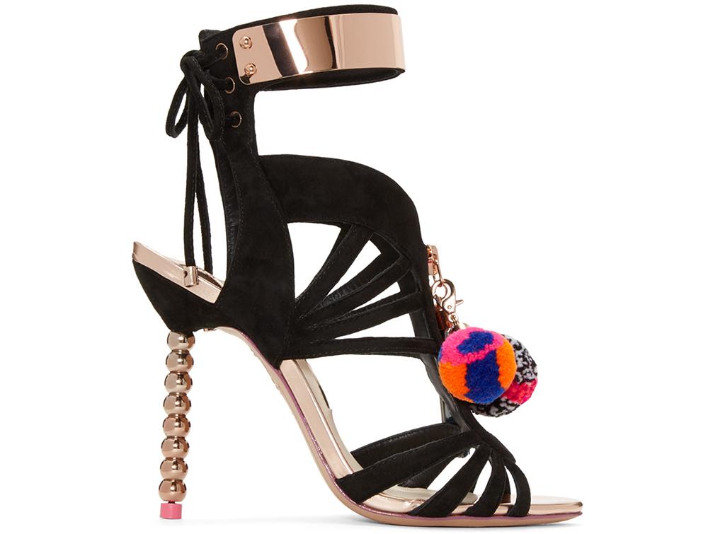 Sophia Webster  Black Pom Pom Yasmina Heels