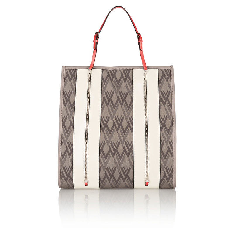 Valentino_Leather-trimmed canvas tote-THE OUTNEt.COM