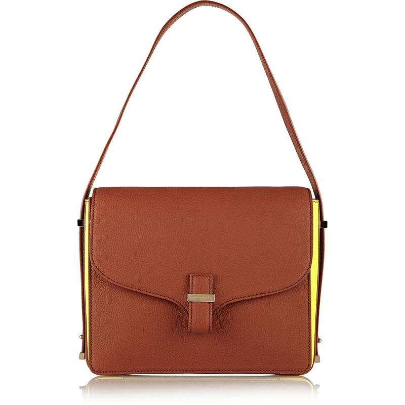 Victoria Beckham_Harper textured-leather shoulder bag_THE OUTNET.COM