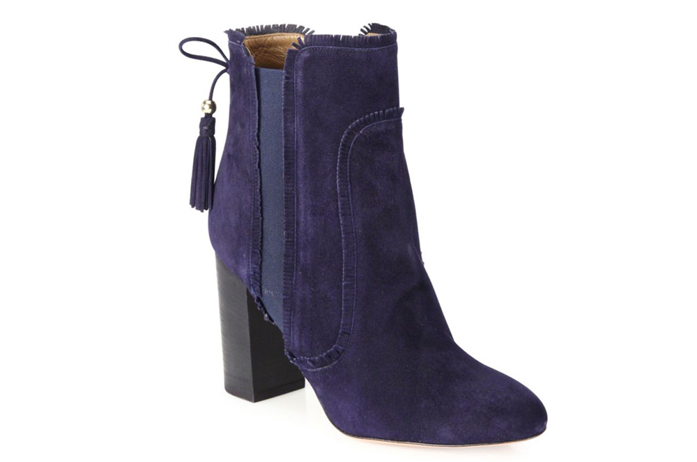 Aquazzura Tristan Fringed Suede Block-Heel Booties