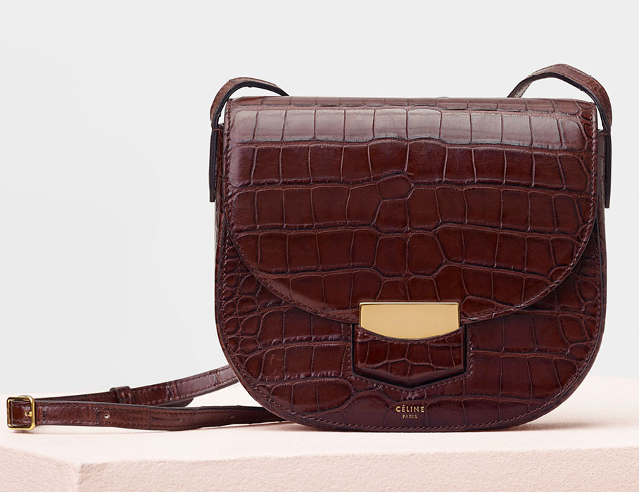 Celine-Trotteur-Shoulder-Bag-Brown-Crocodile