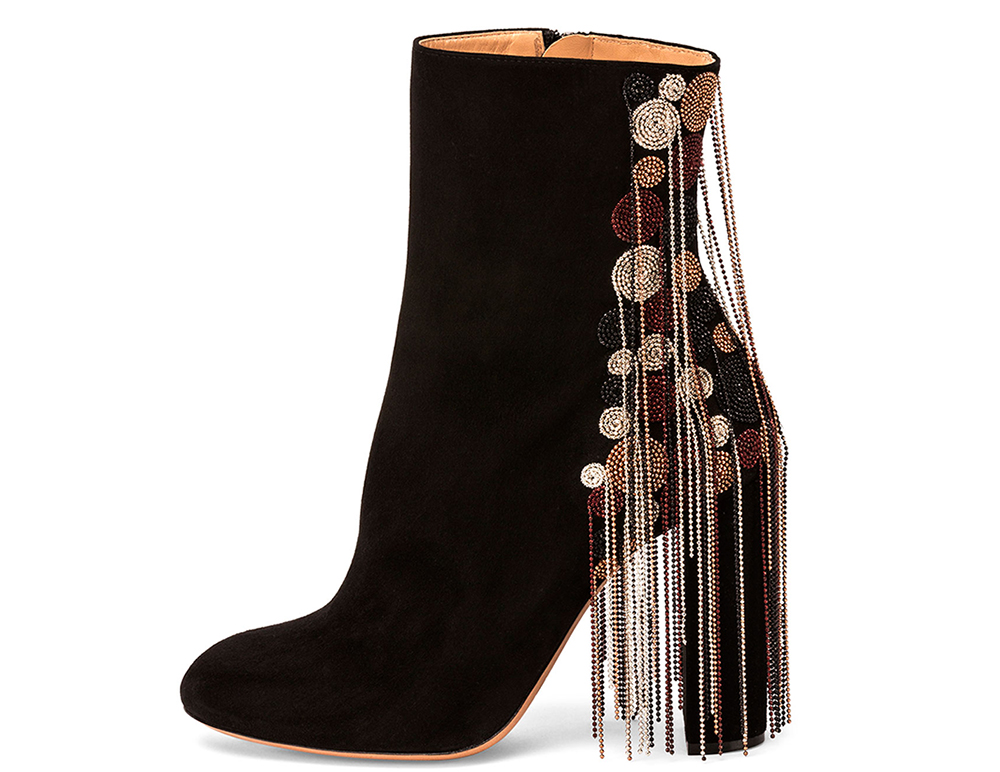Chloe Bead-Fringe Suede Ankle Boot