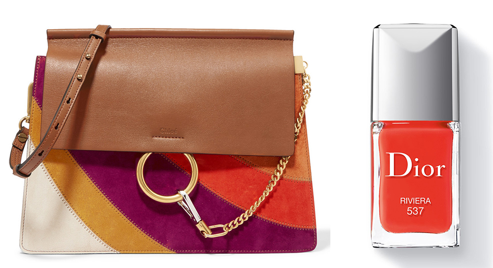 Chloé Faye Medium Leather and Suede Shoulder Bag: $2,450 via Net-a-Porter Dior Vernis Riveria Nail Color: $27 via Dior