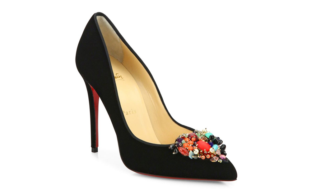 Christian Louboutin Diva Cora Emellished Velvet Point-Toe Pumps