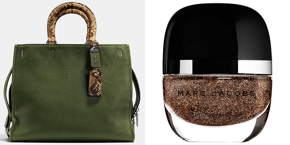 Coach Rogue Bag 36: $1,300 via Coach  Marc Jacobs Beauty Showgirl Enamored Hi-Shine Nail Polish: $18 via Marc Jacobs Beauty