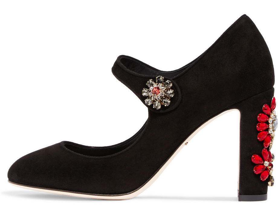 Dolce and Gabbana Embellished Suede Mary Jane pumps