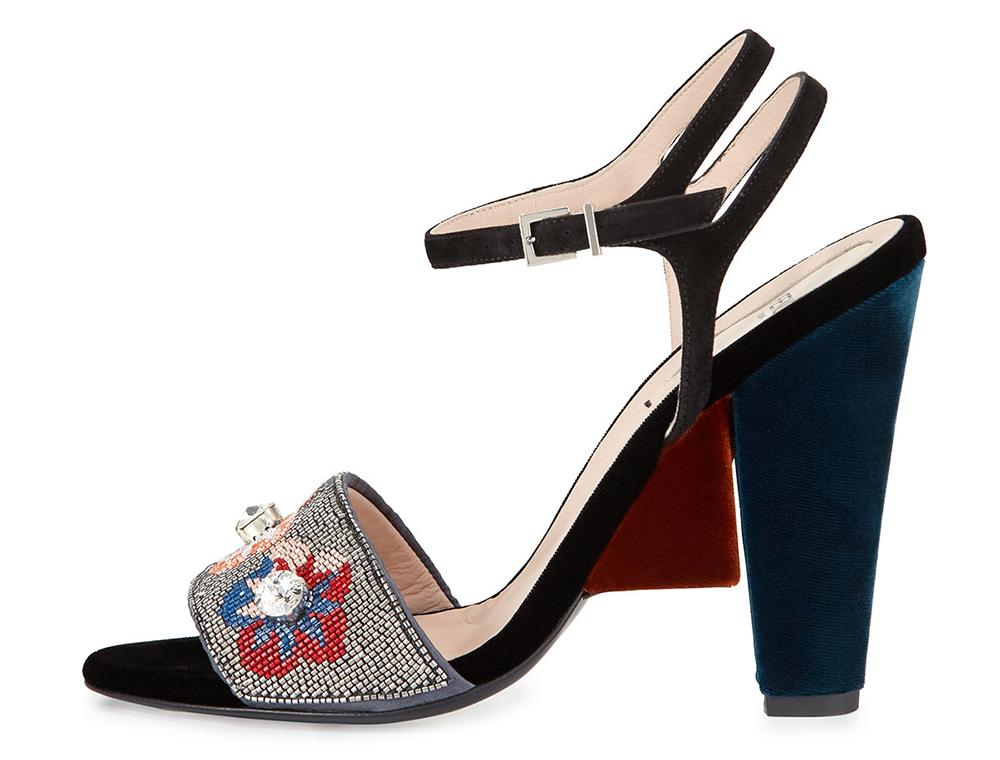 Fendi Fantasia Floral-Beaded Velvet Sandal