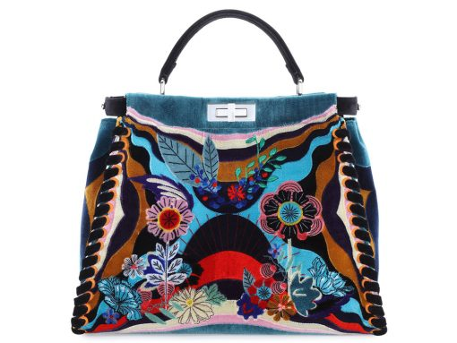 Fendi-Peekaboo-Embroidered-Velvet-Bag