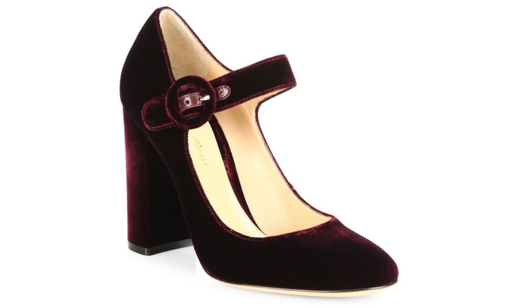 Gianvito Rossi Lorraine Velvet Mary Jane Block-Heel Pumps