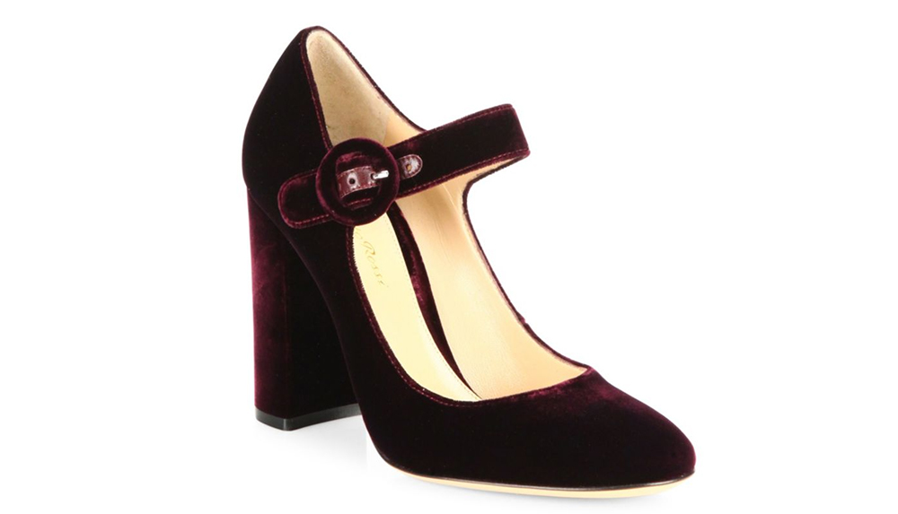 Gianvito Rossi Lorraine Velvet Mary Jane Block-Heel Pumps