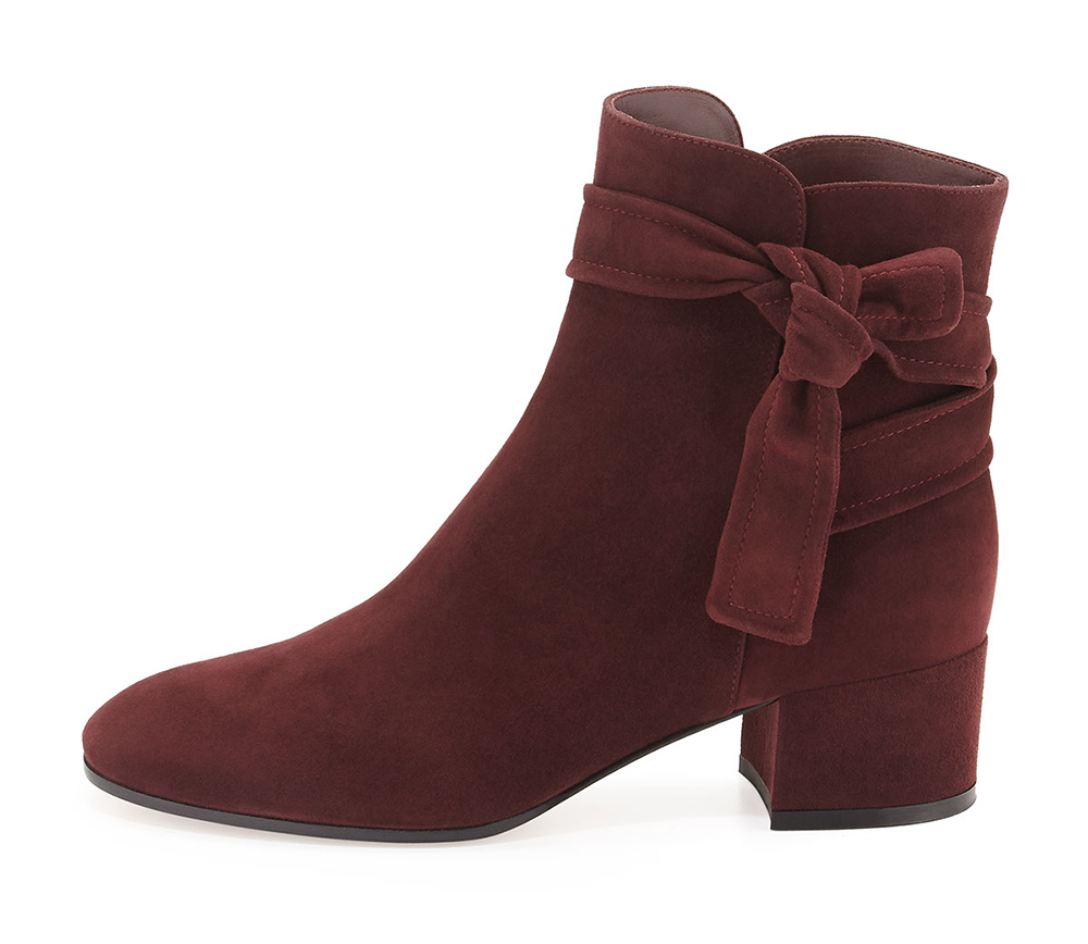 Gianvito Rossi Suede Side-Tie Ankle Boot