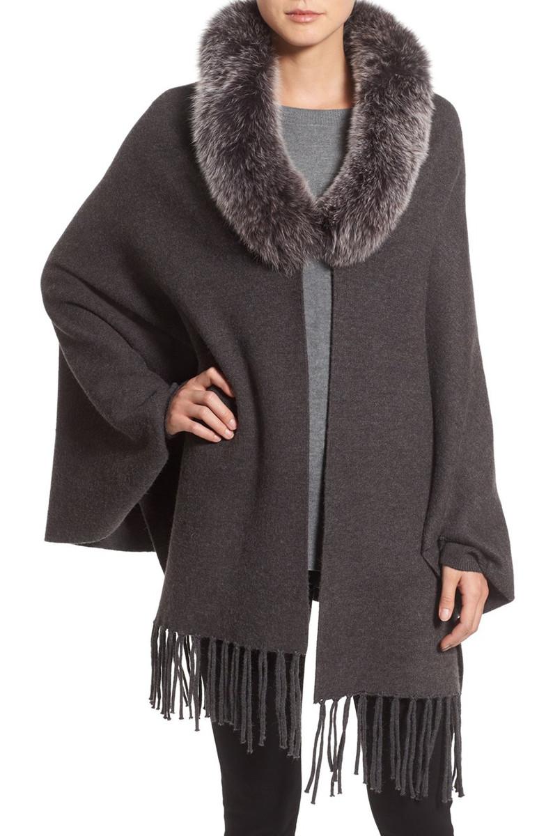 La Fiorentina Wrap with Genuine Fox Fur Collar