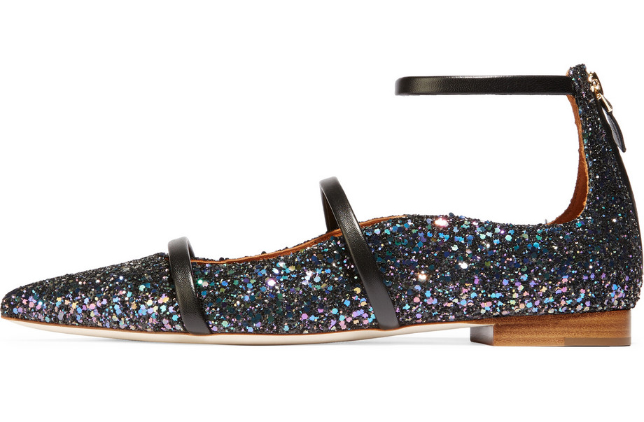 Malone Souliers Glittered Leather Point-Toe Flats