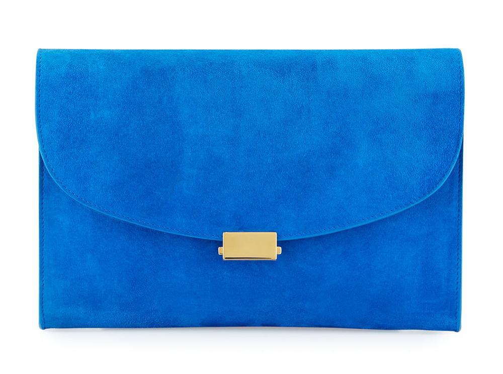 Mansur-Gavriel-Flat-Suede-Clutch-Blue